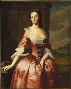 Portrait of a Woman -- 1748 -- Robert Feke -- American -- Oil on canvas -- Brooklyn Museum, NYC. 18th Century Dress, 18th Century Costume, 18th Century Fashion, American Women, American Art, Early American, Google Art Project, Brooklyn Museum Of Art, European Dress