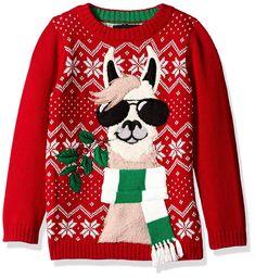 Blizzard Bay Boys' Llama with Sunglasses Xmas Sweater Boys Ugly Christmas Sweater, Ugly Sweater Day, Llama Christmas, Christmas Jumpers, Christmas Shirts, Christmas Note, Christmas Costumes, Boys Sweaters, Red Sweaters
