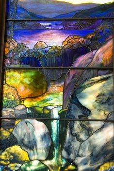 Tiffany OFF! Detail of Tiffany Stained Glass Window Autumn Landscape in the Met Stained Glass Designs, Stained Glass Panels, Stained Glass Patterns, Leaded Glass, Stained Glass Art, Mosaic Patterns, Tiffany Stained Glass, Tiffany Glass, Art Nouveau