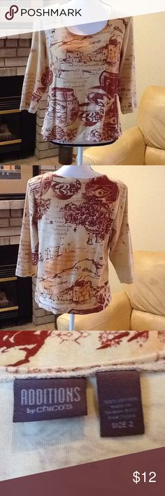 Chico's 3/4 sleeve top Scoop neck, really comfortable. 100% cotton, machine wash cold. Good used condition. Chico's Tops