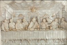 A Magnificent Large Carved and Engraved Mother of Pearl Diorama or Model depicting the Last Supper attributed to the Master Bichara AL-Zogbi E Hijos Workshop, Probably Made By Yusef Zogbi, Bethlehem, circa 1900 - May 2015 - New Items