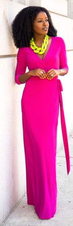Shoxie Magenta Wrap Maxi Dress by Style Pantry