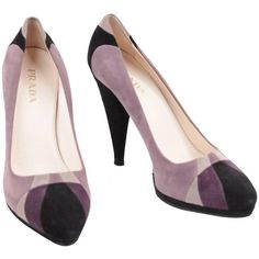 Pre-owned PRADA Italian Purple Gray Black TRICOLOR Suede HEELS Shoes... ($314) ❤ liked on Polyvore featuring shoes, pumps, grey pumps, slip on shoes, grey platform pumps, black pumps and purple platform pumps