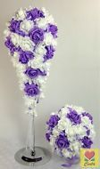 Artificial White/Purple Foam Rose Flowers Bridal Wedding Flower Bouquet set