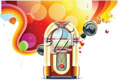 iCLIPART - Vector illustration in retro style of party abstract background with detailed classic juke box.