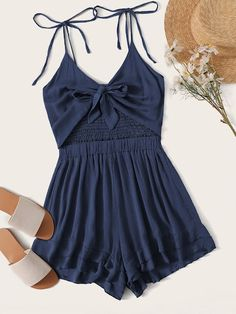 Check out this Tie Front Shirred Layer Ruffle Hem Cami Playsuit on Shein and explore more to meet your fashion needs! Lace Romper, Playsuit, Blouse Peplum, Lingerie Transparente, Summer Outfits, Cute Outfits, Plus Size Jumpsuit, Fashion News, Fashion Styles