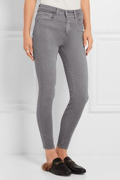 L'Agence - The Margot Cropped High-rise Skinny Jeans - Gray - 25
