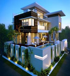 Stylish modern house plans that may inspire you Modern House Facades, Modern House Plans, Compound Wall Design, Bungalow Haus Design, Corner House, House Front Design, Dream House Exterior, House Elevation, Villa Design
