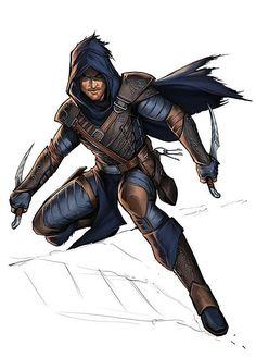 m Rogue Assassin lvl Leather Armor Cloak Dual Daggers Poison Keys Character Design Challenge, Character Design Cartoon, Fantasy Character Design, Character Design Inspiration, Character Concept, Character Art, Character Ideas, Pathfinder Rogue, Rogue Dnd