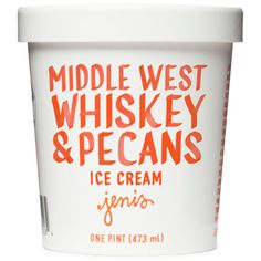 Middle West Spirits whiskey-fueled ice cream—with notes of butterscotch, honey, coconut, and vanilla—laden with crunchy, salty, toasted pecans.