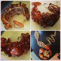 Bracciale in ambra lavorato all'uncinetto By NiNa