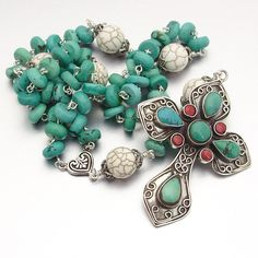Sterling Silver Turquoise Catholic Rosary by StyledInStones