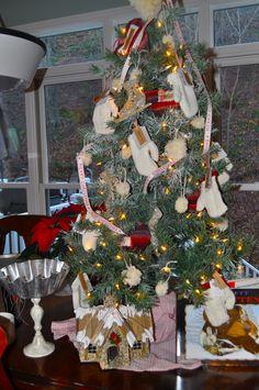 Repurposed Christmas Tree w/DIY Mitten, Heart & Pom Pom Ornaments
