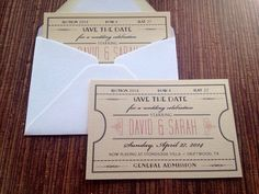 Vintage Ticket Save The Date / wedding / by papercakedesigns, $2.00