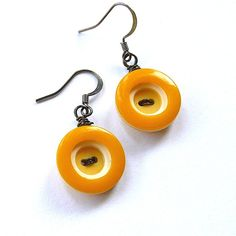Retro Mustard Yellow Circles Vintage Button Dangle Earrings by buttonsoupjewelry, $8.00