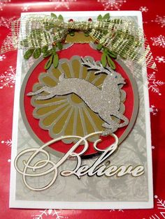 3D Christmas Card Multi Layered with Foil cardstock and Jewels Vintage and Modern Inspired by BrushFancy on Etsy