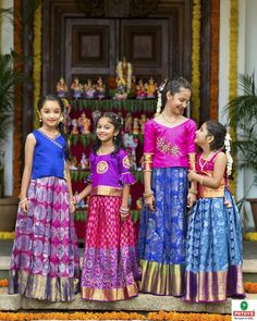 Kids pattu set by YUTI for Pothys! For Queries Reach us at or Whatsapp: 7010905260 Moosa street, TNagar, Chennai. Kids Party Wear Dresses, Kids Dress Wear, Kids Gown, Dresses Kids Girl, Kids Outfits, Kids Indian Wear, Kids Ethnic Wear, Kids Frocks Design, Baby Frocks Designs