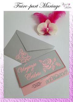 Faire-part Mariage - Thème ROMANTIQUE Couleurs: Rose poudre et gris argenté Création fait-main.  Entièrement personnalisable selon vos envies. Orchids, Creations, Gray, Handmade, Dusty Rose, Lilies, Orchid