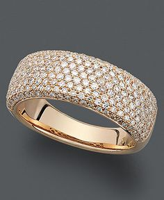 Trio by Effy Collection Diamond Ring, 14k Rose Gold Diamond Pave Ring (1 ct. t.w.) - Rings - Jewelry & Watches - Macy's