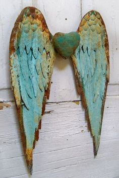 Metal wall wings with heart robins egg blue rusty distressed sculpture home decor Anita Spero