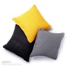 Pebble Pop Knit Pillows | Free Pattern | Caron One Pound | Gray Matters