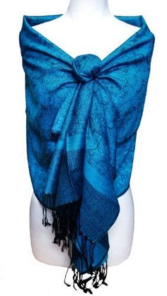 Jacquard Blue and Black Pashmina Shawl Wrap Peach Couture. $9.95