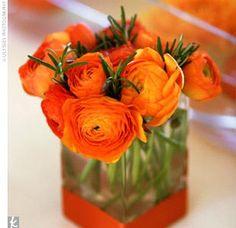 Orange ranunculus flowers,