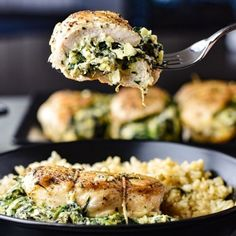 Tender and juicy chicken breasts are stuffed to the brim with everyone's forever favorite dip: spinach artichoke. Fresh mozzarella, tangy goat cheese, and grated parmesan elevate this dish to cheesy perfection. Pull up a chair, grab a fork, and delight yourself in one of the best Spinach Artichoke Stuffed Chicken Breast recipes.