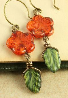 Rust Orange Flower Earrings Olive Green Leaf by ForTheCrossJewelry, $26.00