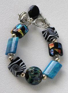 Blue Zebra Handmade Beaded Bracelet by bdzzledbeadedjewelry, $34.00