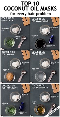 Coconut oil has amazing properties that can make your hair healthier and help it grow faster. The vitamins and essential fatty acids naturally found in the oil nourish the scalp… Hair Mask For Dandruff, Oils For Dandruff, Hair Mask For Damaged Hair, Hair Mask For Growth, Oily Hair, Hair Growth Oil, Hair Masks, Coconut Oil Hair Growth, Coconut Oil Hair Mask