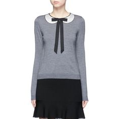 Alice + Olivia 'Jensyn' strass collar intarsia neck tie wool sweater ($375) ❤ liked on Polyvore featuring tops, sweaters, grey, wet look top, wool sweaters, peter pan collar sweater, grey top and peter pan sweater