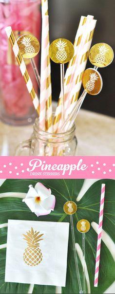 Pineapple Drink Stirrers Gold Pineapple Decor Drink Stirs Hawaiian Tropical…