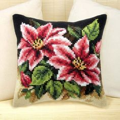 The pillows include printed canvas, acrilic treads, needle, a drawing and instructions. The models are pleasant to work over and the colours are very nice. Counted Cross Stitch Kits, Cross Stitch Charts, Cross Stitch Designs, Cross Stitch Patterns, Cross Stitch Fruit, Cross Stitch Flowers, Embroidery Kits, Cross Stitch Embroidery, Cross Stitch Cushion