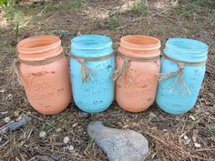Hand Painted Peach and Teal Pint Sized by SwiftRiverCreations, $30.00