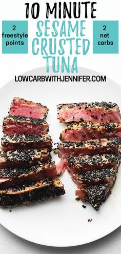 These sesame crusted and seared tuna steaks are marinated in a quick sauce, crusted in beautiful black sesame seeds, and seared in a hot skillet. Truly one of the quickest and easiest dishes you can Net Freestyle Points Seared Tuna Steak Recipe, Marinated Tuna Steak, Grilled Tuna Steaks, Tuna Steak Recipes, Fish Recipes, Seafood Recipes, Quick Recipes, Keto Recipes, Sesame Seared Tuna