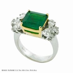 Jye Emerals Ring - This charming piece features a 3.73ct emerald center stone set in 18k yellow gold. The band is made in platinum with 0.51ct premium cut round diamonds.