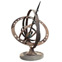 Iron Armillary Sphere | From a unique collection of antique and modern sculptures at https://www.1stdibs.com/furniture/more-furniture-collectibles/sculptures/