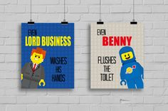 """Lego Bathroom Prints - """"Even Lord Business Washes his Hands"""" Lego Prints, Superhero Prints, Bathroom Rules, Lego Movie Inspired, Set of 2"""