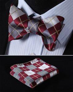Plaid Check Bow Tie BC4008R Burgundy Gray Check 100%Silk Men Butterfly Self Bow Tie BowTie Pocket Square Handkerchief Hanky Suit Set
