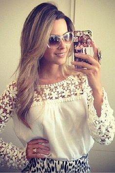 White Floral Croche Lace Long Sleeve Chiffon Blouse