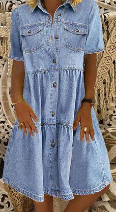 Womens Denim Dress, Denim Shirt Dress, Denim Shirts, Denim Jeans, Shift Dresses, Manga Floral, Camisa Formal, Vestido Casual, Half Sleeve Dresses