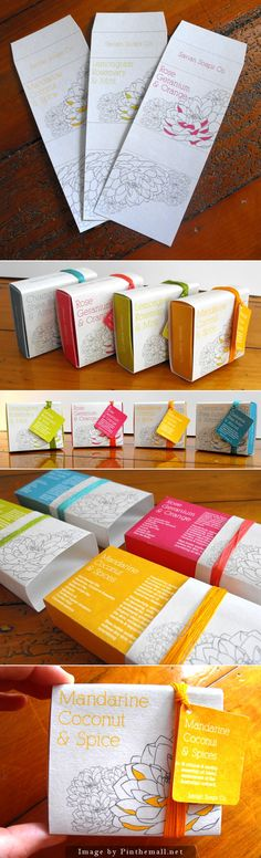 the illustrations and the color palettes work so well to make a cohesive brand identity design | Colorful soap packaging