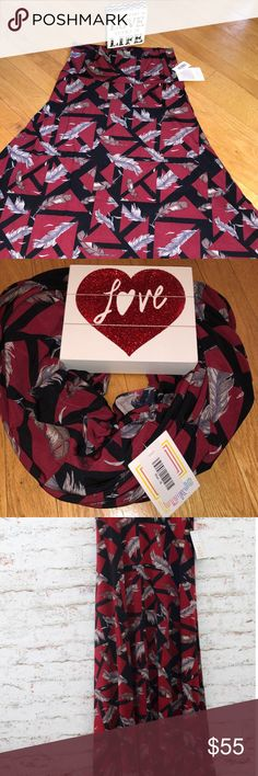 🌹🆕Gorgeous Slinky Red Feather LuLaRoe Maxi M NWT A beautiful print in the softest material!   Lula helps you look fabulous while feeling like you are wearing a robe of pajamas. ❣️👯❣️  Just realized we can wear their maxis as a scarf as well! So in love with our comfy stuff. Wanna share with you!   Calling all comfort lovers...  NWT🌹 Boutique Piece❣️ Handpicked with TLC💐 Price Firm❤️ LuLaRoe Skirts Maxi
