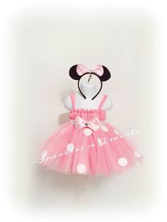 Light pink Minnie Mouse inspired Tutu dress w/ free Minnie mouse ears by SparklesnTwirls on Etsy