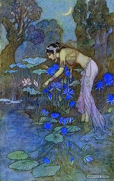 "Sita Finds Rama Among Lotus Blooms."" Illustration by Warwick Goble for ""Indian Myth and Legend"" by Donald A. Mackenzie, published 1913"