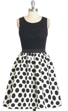 Fit-and-Flare Dress with Polka-Dotted Skirt & Lace Covered Bodice