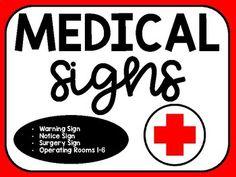 Medical/Hospital Signs for Surgery Classroom Transformation 2nd Grade Classroom, Math Classroom, Classroom Themes, Classroom Seats, Spanish Classroom, Transformations Math, Hospital Signs, Dear Students, 4th Grade Reading