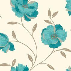 Fabric Wallpaper: Teal Wallpaper