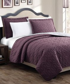 This Plum & Gray Stenson Three-Piece Quilt Set is perfect! #zulilyfinds
